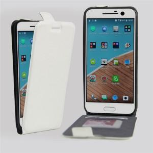 Чехол вертикальная книжка на силиконовой основе с отсеком для карт на магнитной защелке для HTC 10  Белый