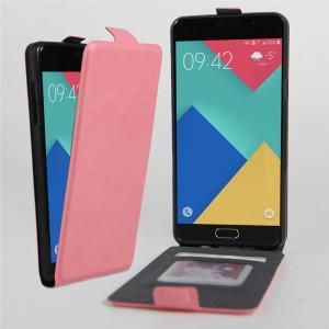 Чехол вертикальная книжка на силиконовой основе с отсеком для карт на магнитной защелке для Samsung Galaxy A3 (2016) Розовый