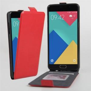 Чехол вертикальная книжка на силиконовой основе с отсеком для карт на магнитной защелке для Samsung Galaxy A3 (2016) Красный