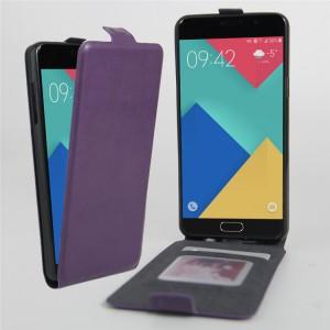 Чехол вертикальная книжка на силиконовой основе с отсеком для карт на магнитной защелке для Samsung Galaxy A3 (2016) Фиолетовый