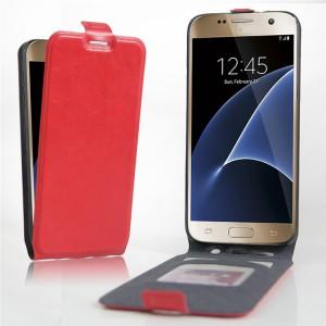 Чехол вертикальная книжка на силиконовой основе с отсеком для карт на магнитной защелке для Samsung Galaxy S7 Edge Красный