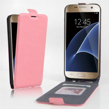 Чехол вертикальная книжка на силиконовой основе с отсеком для карт на магнитной защелке для Samsung Galaxy S7 Edge Розовый