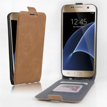 Чехол вертикальная книжка на силиконовой основе с отсеком для карт на магнитной защелке для Samsung Galaxy S7 Edge