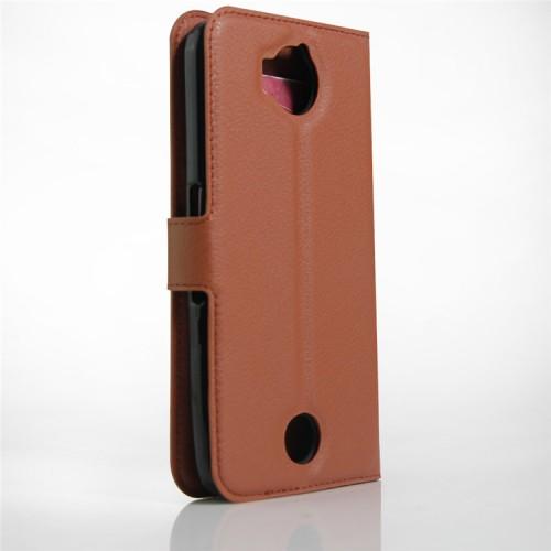 Чехол портмоне подставка на силиконовой основе на магнитной защелке для Acer Liquid Jade Primo Коричневый