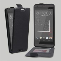 Чехол вертикальная книжка на силиконовой основе с отсеком для карт на магнитной защелке для HTC Desire 530  Черный