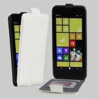 Чехол вертикальная книжка на силиконовой основе с отсеком для карт на магнитной защелке для Nokia Lumia 630/635 Белый