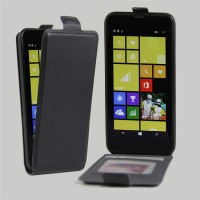 Чехол вертикальная книжка на силиконовой основе с отсеком для карт на магнитной защелке для Nokia Lumia 630/635 Черный