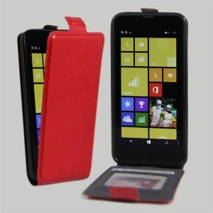 Чехол вертикальная книжка на силиконовой основе с отсеком для карт на магнитной защелке для Nokia Lumia 630/635 Красный