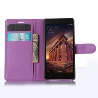 Чехол портмоне подставка на магнитной защелке для Xiaomi RedMi 3 Фиолетовый