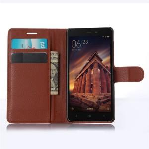 Чехол портмоне подставка на магнитной защелке для Xiaomi RedMi 3 Коричневый