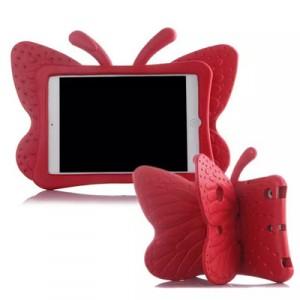 Ударостойкий детский силиконовый матовый гиппоаллергенный непрозрачный чехол с встроенной ножкой-подставкой для Ipad Mini 2/3/4 Красный