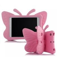 Ударостойкий детский силиконовый матовый гиппоаллергенный непрозрачный чехол с встроенной ножкой-подставкой для Ipad Mini 2/3/4 Розовый