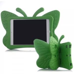 Ударостойкий детский силиконовый матовый гиппоаллергенный непрозрачный чехол с встроенной ножкой-подставкой для Ipad Mini 2/3/4 Зеленый