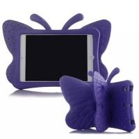 Ударостойкий детский силиконовый матовый гиппоаллергенный непрозрачный чехол с встроенной ножкой-подставкой для Ipad 2/3/4 Фиолетовый