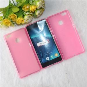 Силиконовый матовый полупрозрачный чехол для Huawei P9 Lite  Розовый