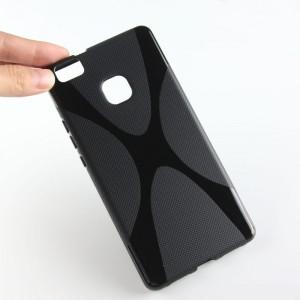 Силиконовый матовый полупрозрачный чехол с дизайнерской текстурой X для Huawei P9 Lite  Черный