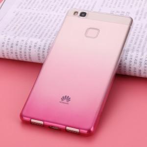 Силиконовый матовый полупрозрачный градиентный чехол для Huawei P9 Lite  Розовый