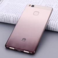 Силиконовый матовый полупрозрачный градиентный чехол для Huawei P9 Lite  Черный