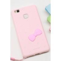 Силиконовый матовый непрозрачный дизайнерский фигурный чехол для Huawei P9 Lite  Розовый