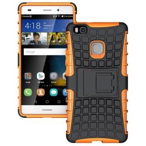 Противоударный двухкомпонентный силиконовый матовый непрозрачный чехол с поликарбонатными вставками экстрим защиты с встроенной ножкой-подставкой для Huawei P9 Lite Оранжевый
