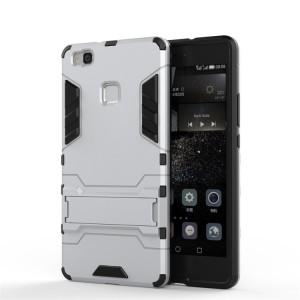 Противоударный двухкомпонентный силиконовый матовый непрозрачный чехол с поликарбонатными вставками экстрим защиты с встроенной ножкой-подставкой для Huawei P9 Lite  Белый