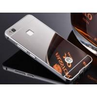Двухкомпонентный чехол c металлическим бампером с поликарбонатной накладкой и зеркальным покрытием для Huawei P9 Lite Белый