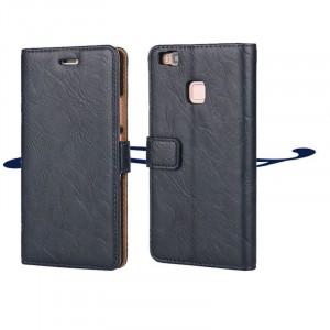 Винтажный чехол портмоне подставка на пластиковой основе на магнитной защелке для Huawei P9 Lite  Синий