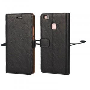 Винтажный чехол портмоне подставка на пластиковой основе на магнитной защелке для Huawei P9 Lite  Черный