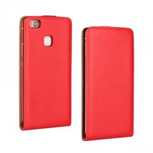 Чехол вертикальная книжка на пластиковой основе на магнитной защелке для Huawei P9 Lite Красный