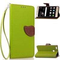 Чехол портмоне подставка на силиконовой основе на дизайнерской магнитной защелке для Huawei P9 Lite  Зеленый