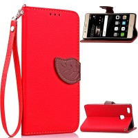 Чехол портмоне подставка на силиконовой основе на дизайнерской магнитной защелке для Huawei P9 Lite  Красный