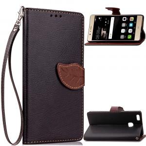 Чехол портмоне подставка на силиконовой основе на дизайнерской магнитной защелке для Huawei P9 Lite  Черный