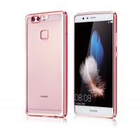 Силиконовый матовый полупрозрачный чехол с текстурным покрытием Металлик для Huawei P9 Plus  Розовый