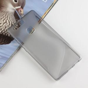 Силиконовый матовый полупрозрачный чехол с дизайнерской текстурой S для Huawei P9 Plus  Серый