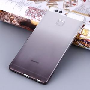 Силиконовый матовый полупрозрачный градиентный чехол для Huawei P9 Plus  Серый