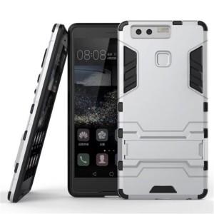 Противоударный двухкомпонентный силиконовый матовый непрозрачный чехол с поликарбонатными вставками экстрим защиты с встроенной ножкой-подставкой для Huawei P9 Plus  Белый