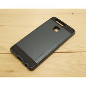 Силиконовый матовый непрозрачный чехол с поликарбонатными вставками для Huawei P9 Plus