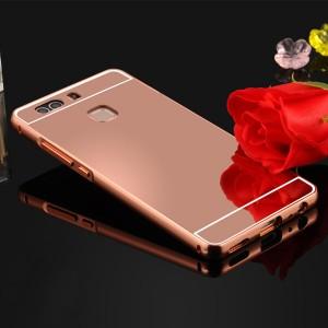 Двухкомпонентный чехол c металлическим бампером с поликарбонатной накладкой и зеркальным покрытием для Huawei P9 Plus