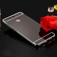 Двухкомпонентный чехол c металлическим бампером с поликарбонатной накладкой и зеркальным покрытием для Huawei P9 Plus  Черный