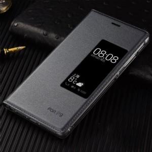 Чехол горизонтальная книжка на пластиковой основе с окном вызова для Huawei P9 Plus Серый