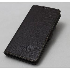Кожаный чехол горизонтальная книжка подставка с отделкой Крокодил на силиконовой основе на магнитной защелке для Huawei P9 Plus  Коричневый