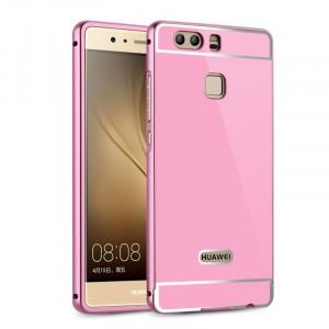Двухкомпонентный чехол c металлическим бампером с поликарбонатной накладкой для Huawei P9 Plus  Розовый