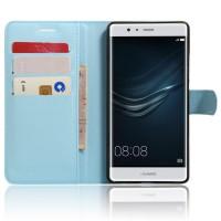 Чехол портмоне подставка на силиконовой основе на магнитной защелке для Huawei P9 Plus  Голубой