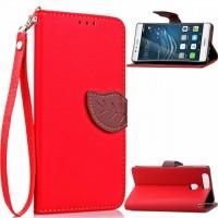 Чехол портмоне подставка на силиконовой основе на дизайнерской магнитной защелке для Huawei P9 Plus  Красный