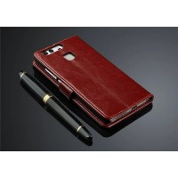 Глянцевый чехол портмоне подставка на магнитной защелке для Huawei P9 Plus Коричневый