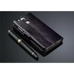 Глянцевый чехол портмоне подставка на магнитной защелке для Huawei P9 Plus Черный