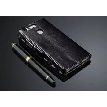 Глянцевый чехол портмоне подставка на пластиковой основе на магнитной защелке для Huawei P9 Plus