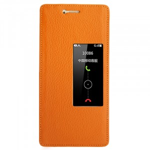 Кожаный чехол горизонтальная книжка на пластиковой основе с окном вызова для Huawei P9 Plus Оранжевый