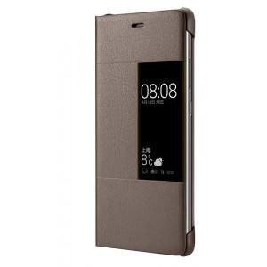 Оригинальный кожаный чехол флип на пластиковой основе с окном вызова для Huawei P9 Plus  Коричневый