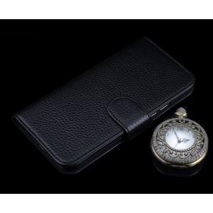 Кожаный чехол портмоне (премиум нат. кожа) с крепежной застежкой для Huawei P9 Plus  Черный